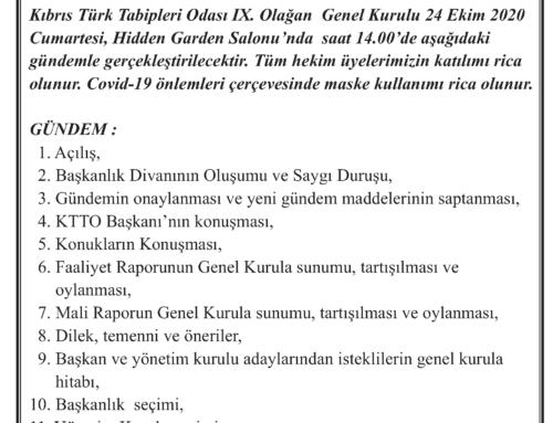 Kıbrıs Türk Tabipleri Odası IX. Genel Kurulu Duyurusu